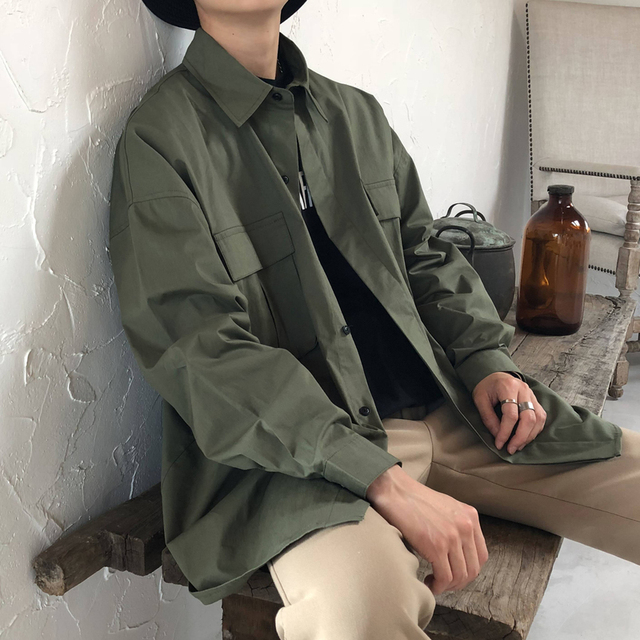 8a44a0242db 2018 autumn and winter Korean version of the wild Japanese literary wash  cotton youth tide men s long-sleeved shirt size M-2XL