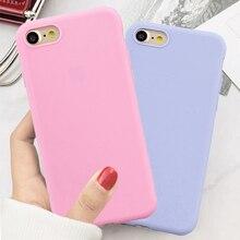 Caramelo color de macarrón de la caja del teléfono para iPhone 5 y 5s 6S 6 7 8 Plus suave Funda de silicona para el iPhone 7 6 6 Plus, 6S Plus, Funda de casco