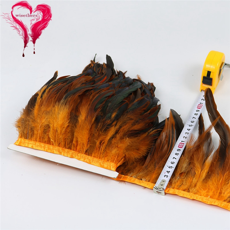 12 orange rooster feather trims 5