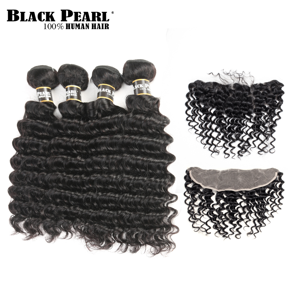 Black Pearl Pre-Colored Deep Wave Brazilian Hair 4 Bundles Hair Weft with Closure Non-Remy Human Hair 13x4 Lace Frontal Closure