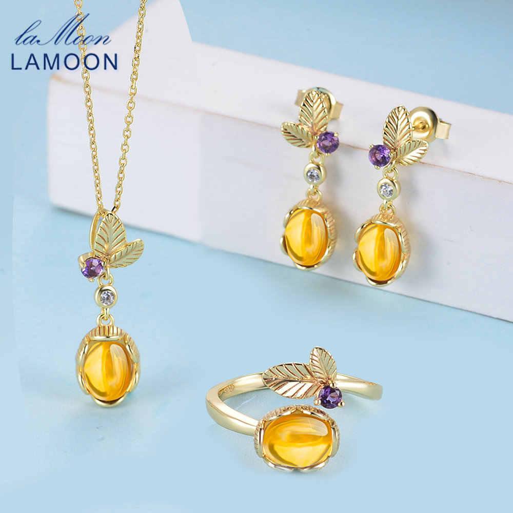 LAMOON 100%ธรรมชาติพลอยซิทรินชุดเครื่องประดับสำหรับผู้หญิงคลาสสิกดอกไม้S925เงินสเตอร์ลิงเหลืองหินเครื่องประดับFine V022-1