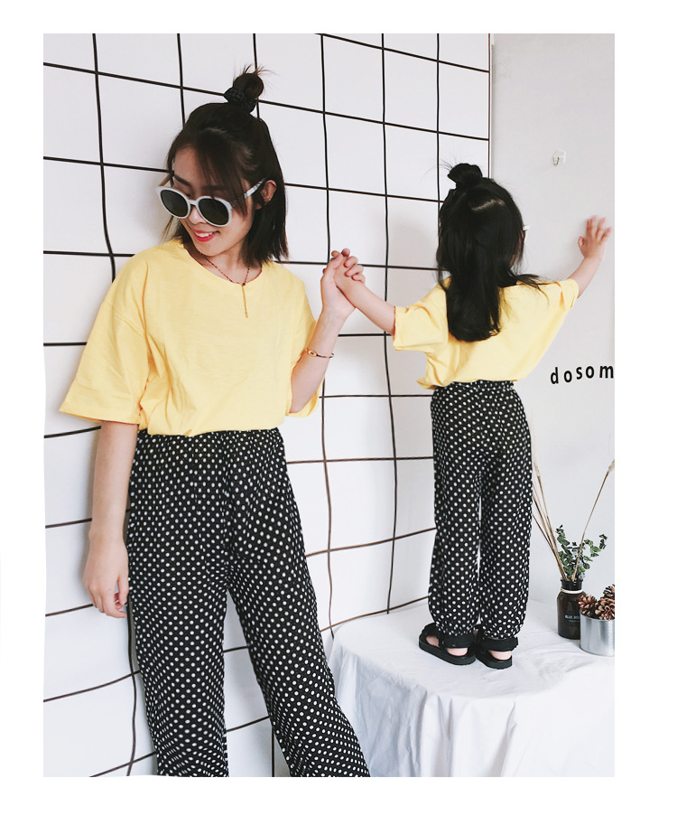 Mother Daughter Clothes 2018 New Summer Baby Girl Lantern Pants Family Look Kids Dot Printed Casual Trousers Pant Mosquito Pants 16