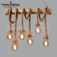 American Country Hemp Bamboo Chandelier Cafe Bamboo Chandelier Lamp Light Industrial Retro Clothing Store Restaurant