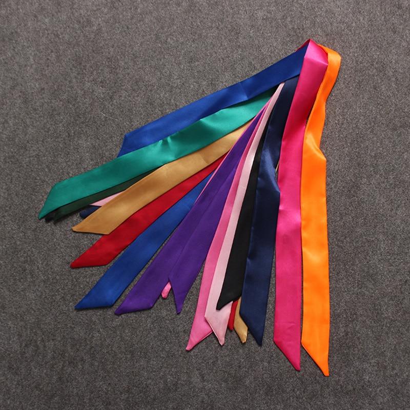 Heiße Art Und Weise Neue Twill Silk Solide Tasche Schal Frauen Kleine Schal Band Handtasche Haar Lange Schal Bandana Luxus Kopf Schal M286 Quell Sommer Durst Bekleidung Zubehör