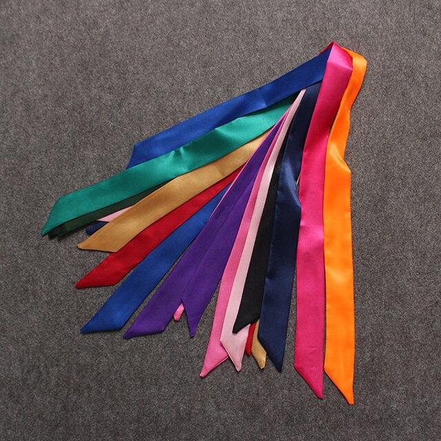 Hot Fashion New Twill Silk Solid Bag Scarf Women Small Scarf Ribbon Handbag Hair Long Shawl Bandana Luxury Head Scarf M286