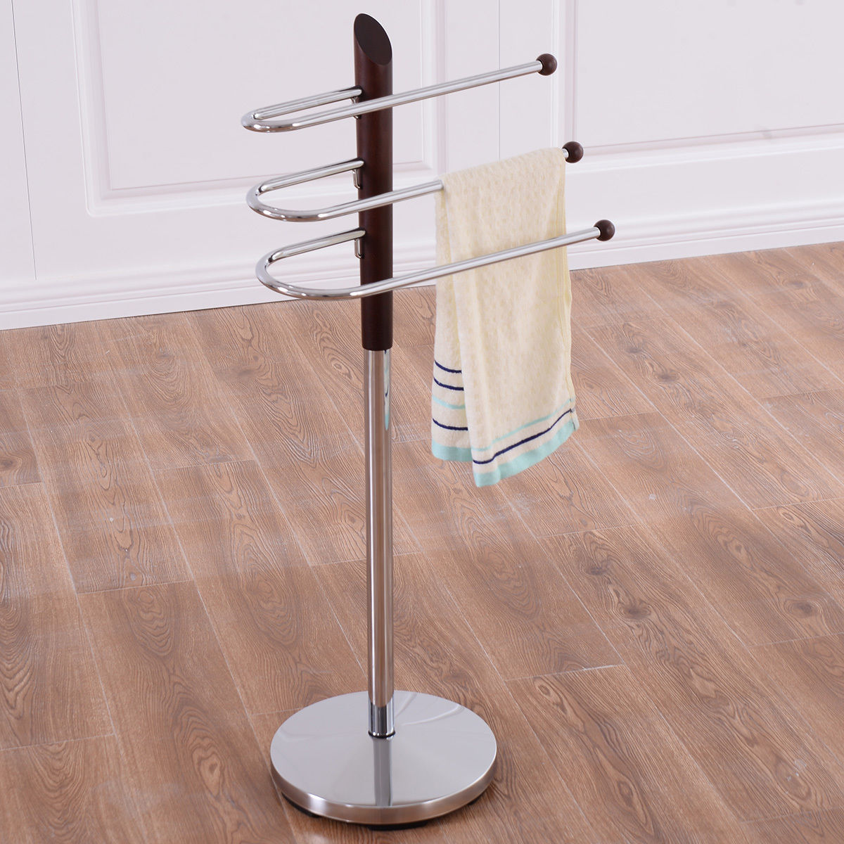 Goplus 3 Tier Free Standing Floor Towel Holder Bathroom Steel Towel