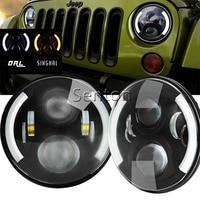 7 60w LED Fog Light Hi Lo Beam H4 Socket 12V LED Headlight For Land Rover