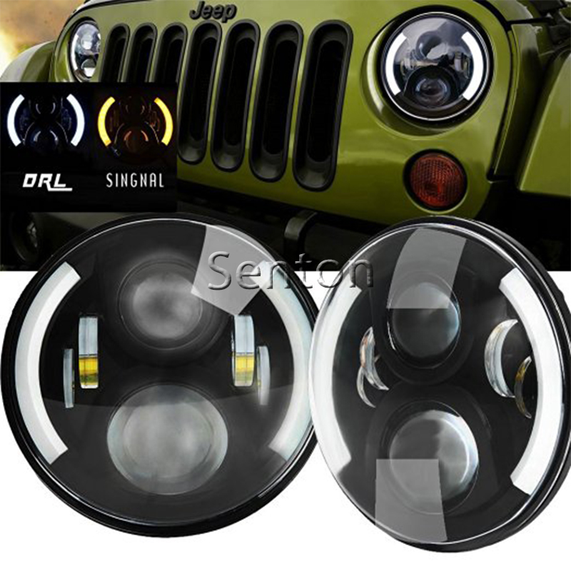 7 60w LED Fog Light Hi-Lo Beam H4 Socket 12V LED Headlight for Land Rover Defender Jeep Wrangler JK CJ TJ LJ DRL 4x4 24V co light 105w round 7 inch led headlight h4 h13 angel eye hi lo drl 12v 24v for jeep wrangler land rover lada niva 4x4 off road