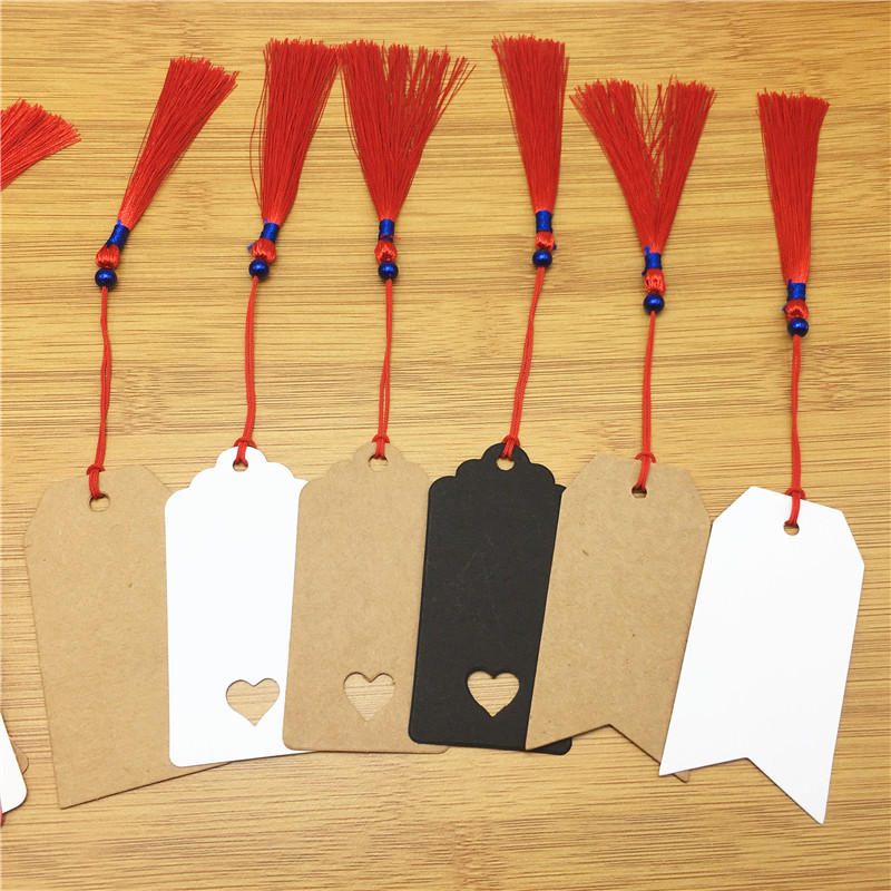 100pcs Kraft Paper Gift Hang Tags Bookmark Wedding Christmas Scallop Label Blank Luggage & Party Supplies+100pcs Red String