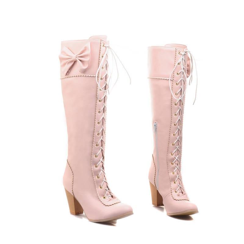 Bottes Noir Up lavande Chaussures Taille 48 Couleurs Zipper Femmes Femelle 34 Grande Talons Memunia Genou Dentelle Automne blanc apricot Gros rose Haute Solide Hiver HUqPxB0S