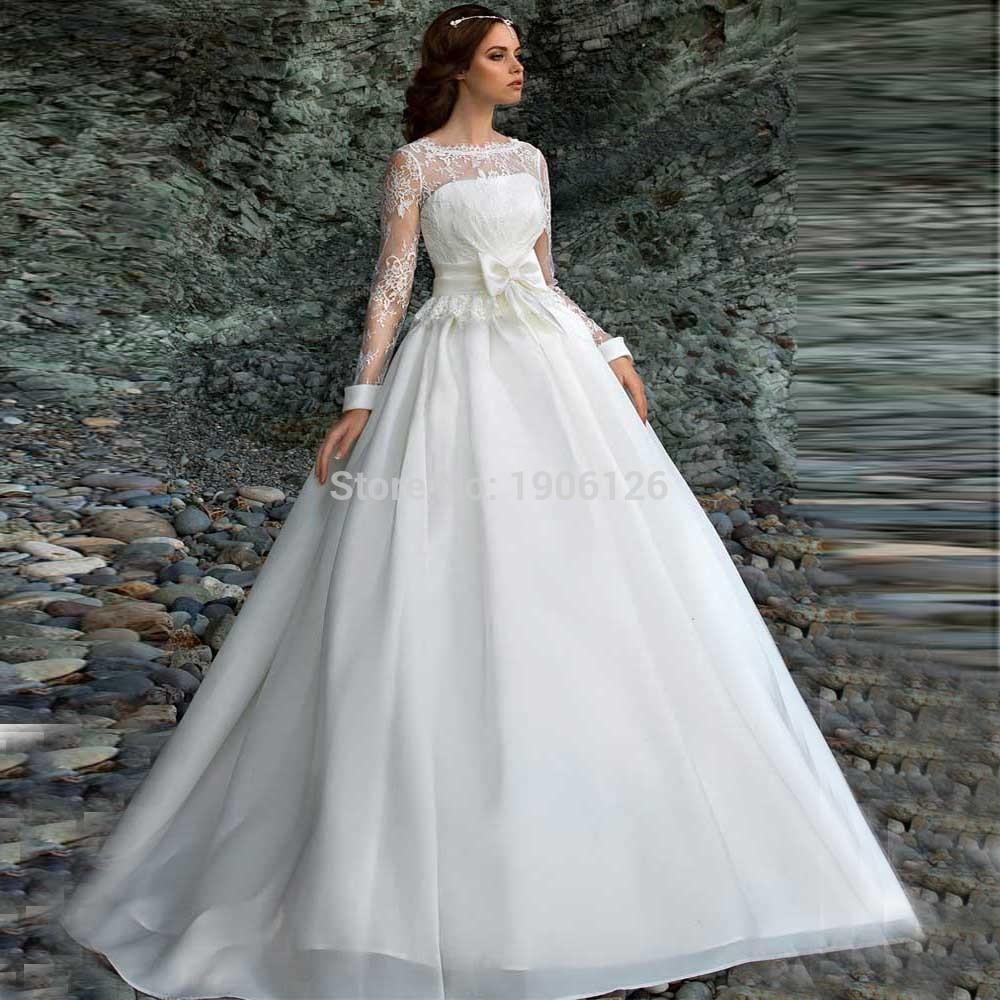 Weddings Gowns With Sleeves: Vestido De Noiva Com Manga Modest Wedding Dresses Long