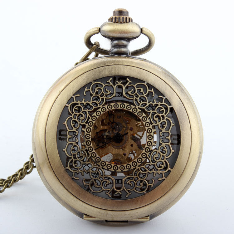 Free shipping Antique Bronze Hollow pendant necklace Mens Woman mechanical watch retro vintage military pocket watch Gift vintage bronze retro slide smart owl pocket pendant long necklace watch 8juh