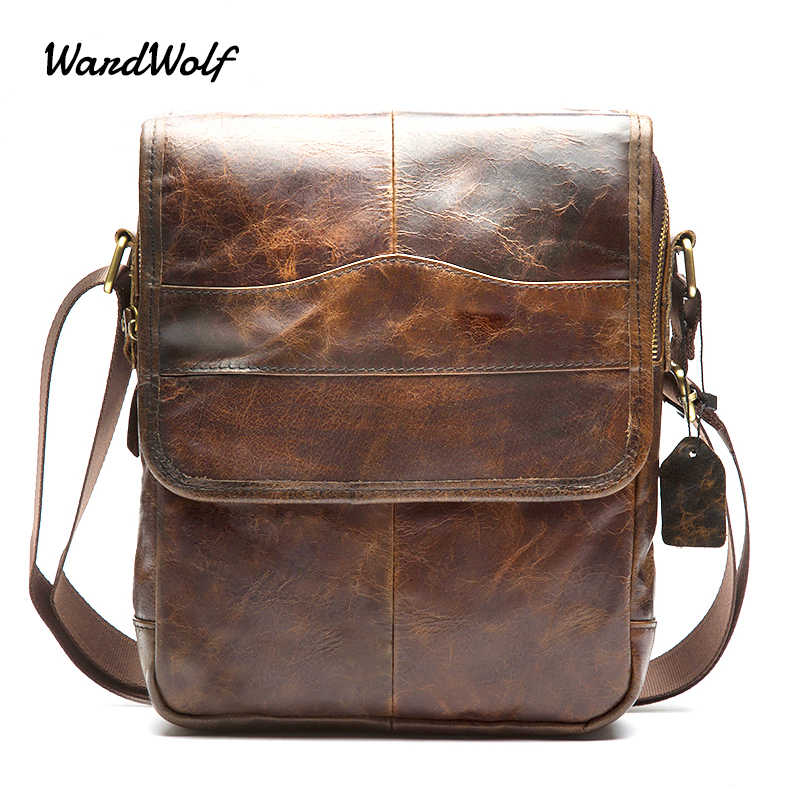 WardWolf Men s Messenger Bag Shoulder Bag Genuine Leather Strap Small  Casual Flap Male Man Men s Crossbody f0ca341b51134