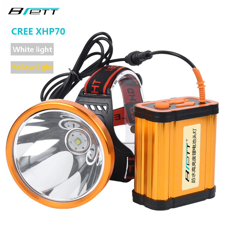 Headlamp CREE XHP70 Super bright White or yellow light optional Built in 8 18650 battery rechargeable