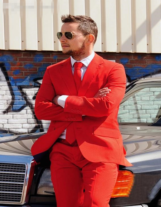 New Custom Made Mens wedding suits Red Groom Tuxedos Wedding ...