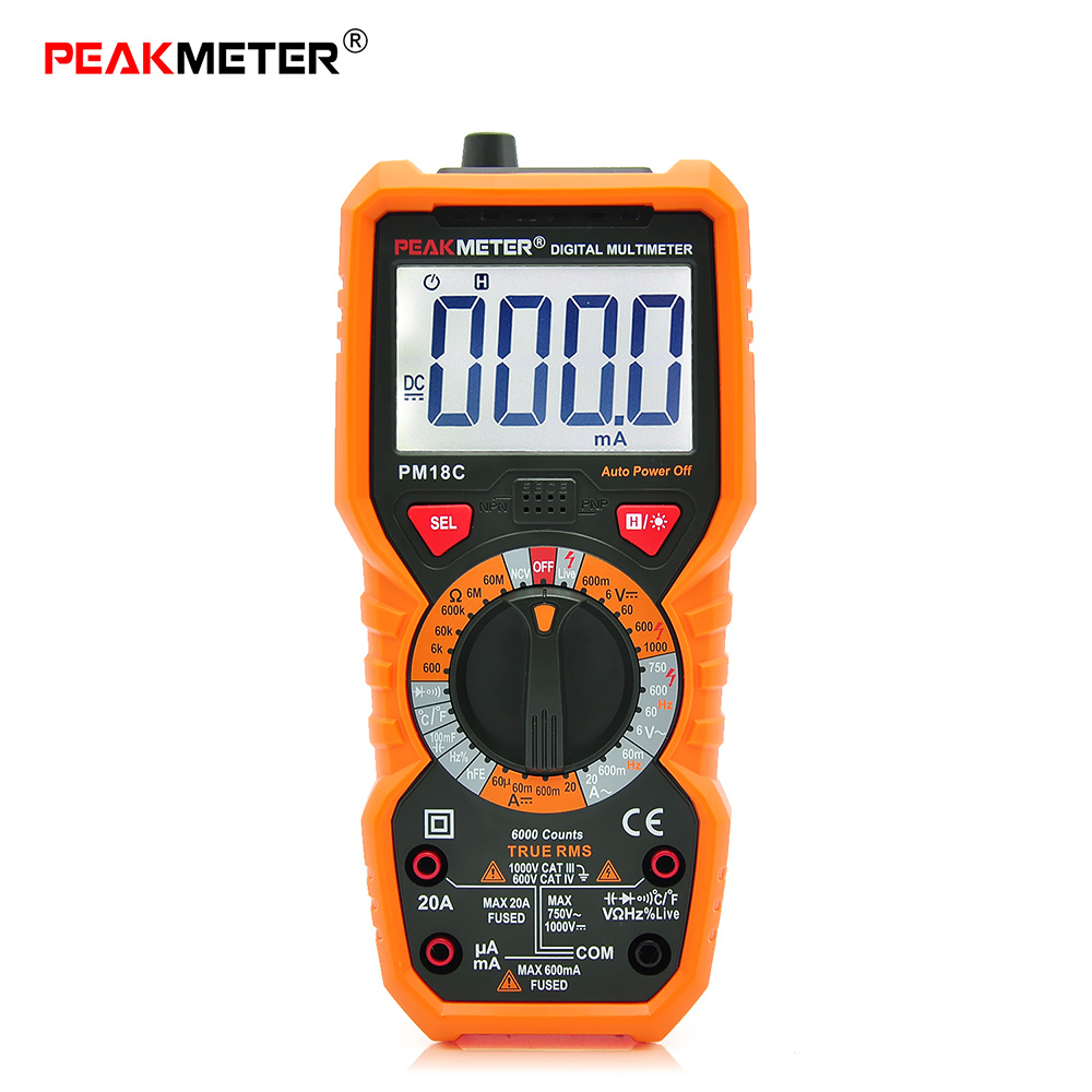 PEAKMETER PM18C Multimeter High Precision Digital Multimeter AC  DC Voltage Current Temperature Capacitance Tester LCD Display