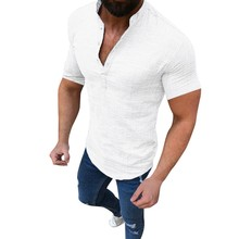 Shirts 2019 Linen Shirts Men Stand Collar V-neck Shirt Fashi