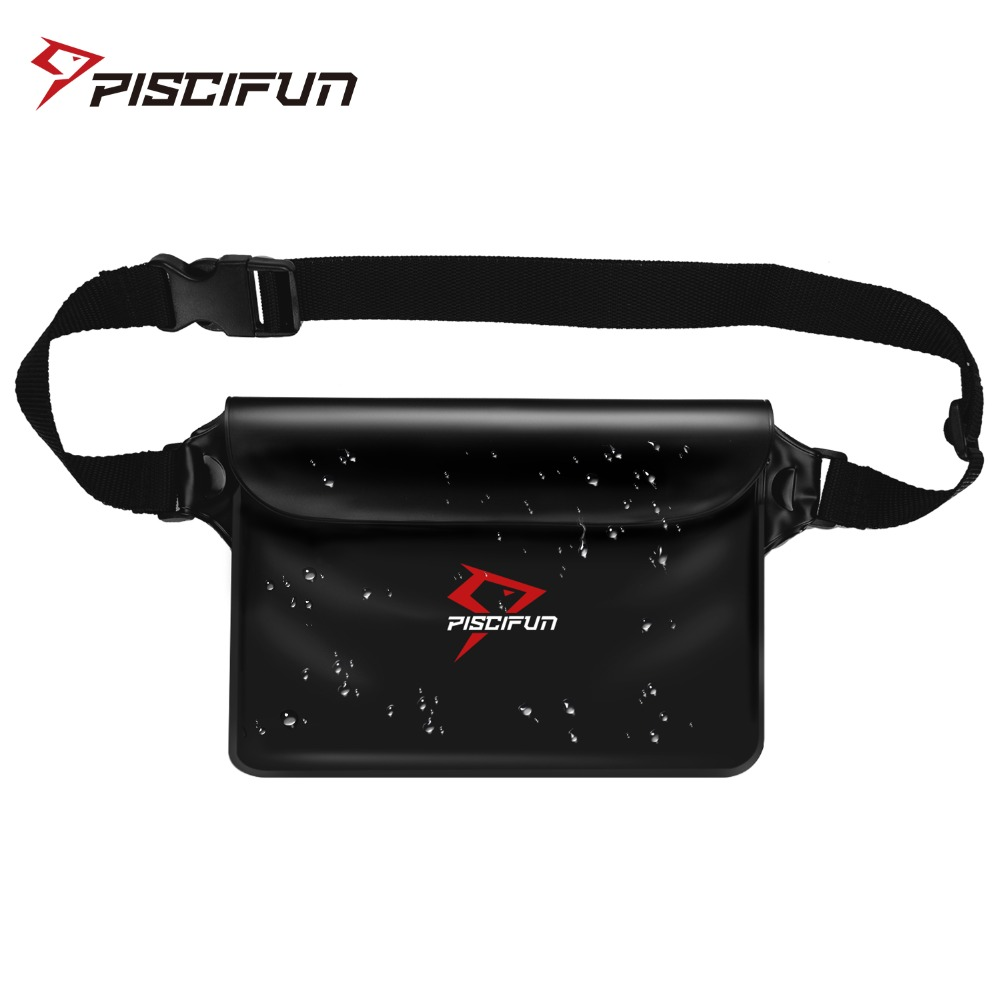 Piscifun Waterproof Waist Pouch IPX8 Certified Phone Valuables Pocket Fishing Swimming Kayaking Rafting Boating Diving Bag
