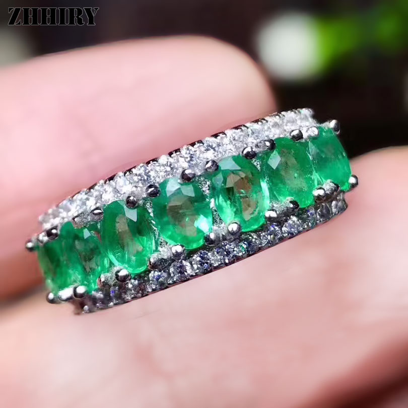 ZHHIRY Real Natural Green Emerald Rings Genuine Solid 925 Sterling Silver For Woman Gemstone Fine Jewelry RingZHHIRY Real Natural Green Emerald Rings Genuine Solid 925 Sterling Silver For Woman Gemstone Fine Jewelry Ring