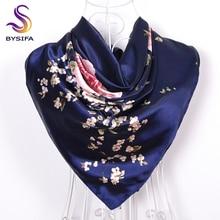 [BYSIFA] Темно-Синие китайские розы большие квадратные шарфы новые женские элегантные шелковый шарф большого размера модные женские аксессуары 90*90 см