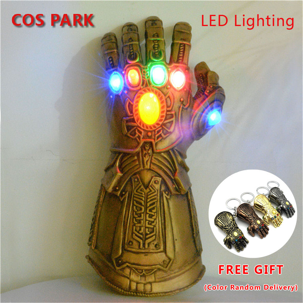 Thanos Infinity Gauntlet War Cosplay Superhero Avengers LED Light Up Flash Led Latex Glove Halloween Party Thanos Hand Prop(China)