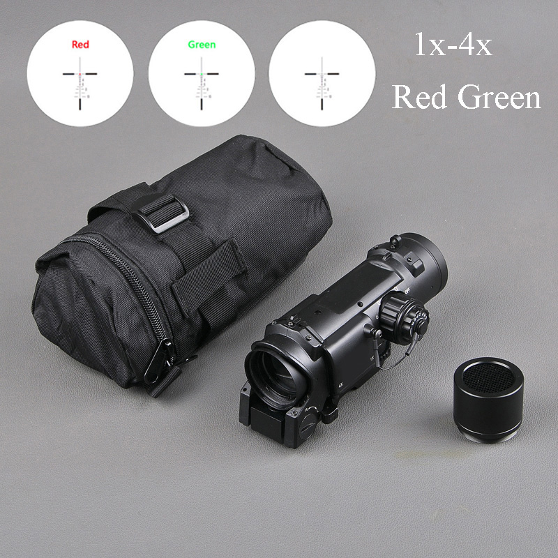 Tactical Rifle Scope Quick Detachable 1X 4X Adjustable Dual Role Sight For Hunting Scopes Airsoft Gun