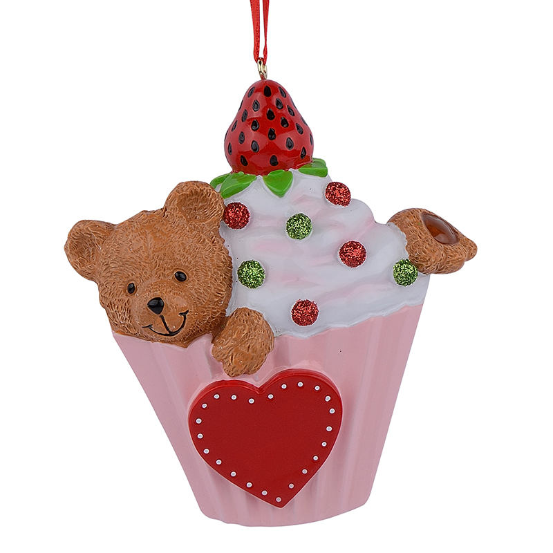 Bear Cake Cupcake Baby 1st Personalized Hand Painted Polyresin Christmas Ornaments For Baby Kids <font><b>Birthday</b></font> Party Decorations