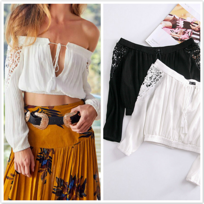Lace up off shoulder tank top Women summer blouse shiirt crop top female 2018 streetwear beach cropped lace top tee