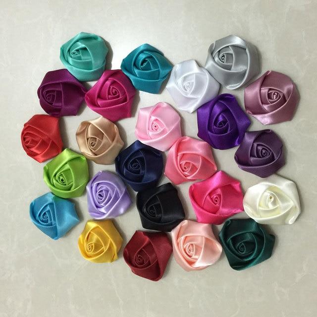 100Pcs Mix Color DIY Hand Made DIA 3.5Cm Satin Rose Artificial ...