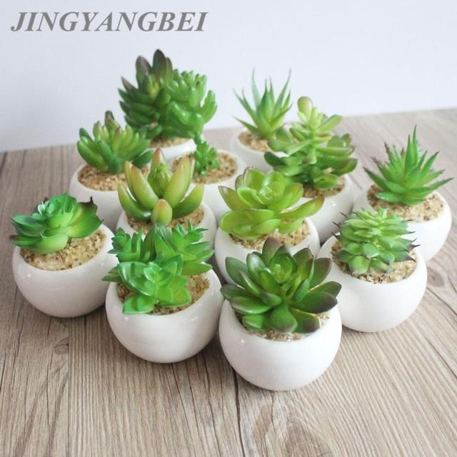 Mini Potted Artificial Green succulent plants Bonsai set