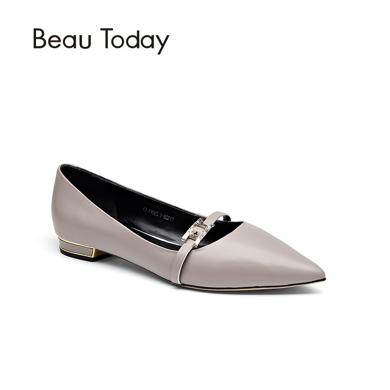 BeauToday Genuine Leather Mary Janes Women Shoes Spring Autumn Pointed Toe Metal Heel Cow Leather Casual Flats Ladies 30030 босоножки indiana босоножки на каблуке