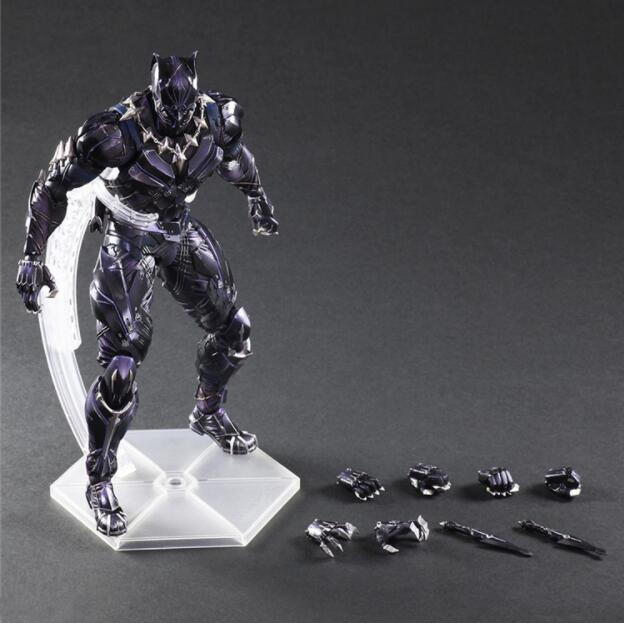 Captain America Action Figure Black Panther Play Arts Kai PVC Figure Toy 260mm Anime Movie Civil War Black Panther Model Doll drop shipping captain america figure 3d