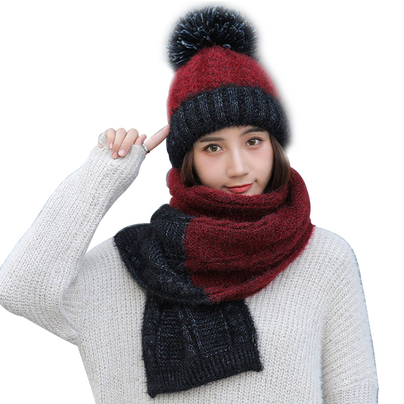 Women's Scarf And Hat 2pcs Set Warm Knit Hat Thick Knit Skull Cap For Women Plus Velvet Thicken Beanie Cap
