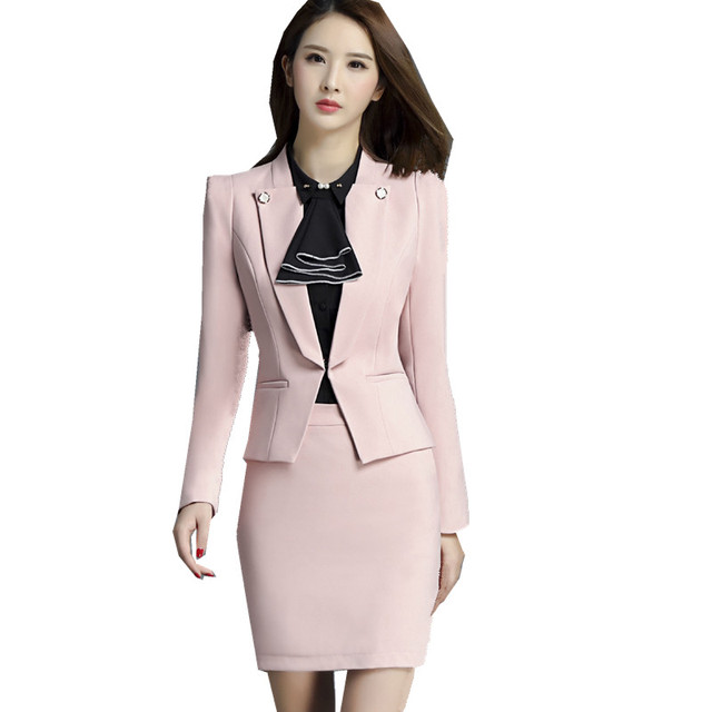 17033edc43cd Fmasuth Business Skirt Suit Ladies Autumn Winter Blazer Jacket+OL Skirt 2  Pieces Womens Suits Blazer with Skirt ow0396