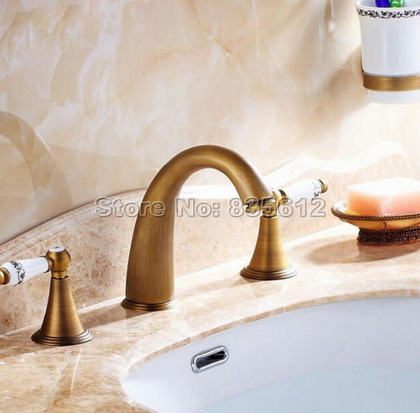 Antique Brass Bathroom Faucet Wash Basin Mixer Vessel Sink Tap Deck ...