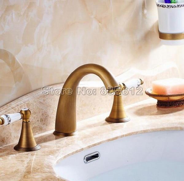 Latón antiguo baño grifo mezclador del fregadero del recipiente del ...