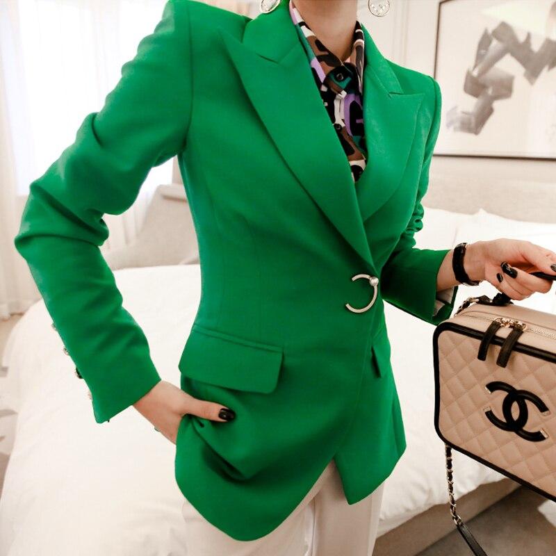 Fashion One Button Notched Collar Women Blazer Jacket Full Sleeve Pockets Female Suit Coat Elegant Office