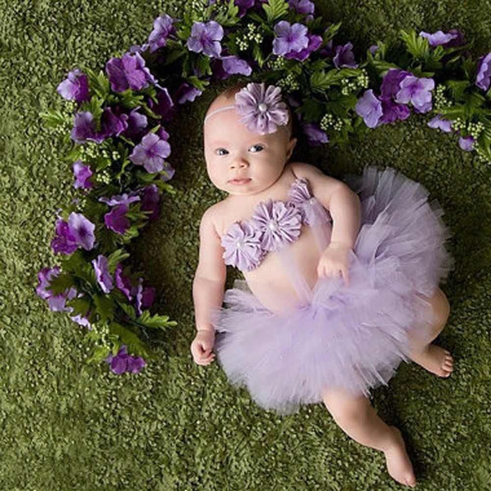 Bebek Kız Toddler Çiçek Elbise + Hairband + Tutu Etek Fotoğraf Prop Kostüm Outfits-P101