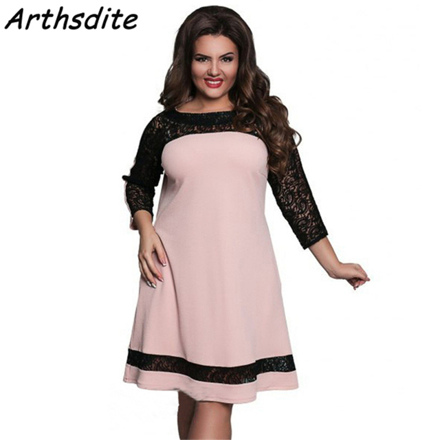 Arthsdite Plus Size S-6XL Flower Lace Office Dress Casual Sexy Women Dress  Clothing Large Size Self Portrait Dress Pink Vestidos c22f89b52e10