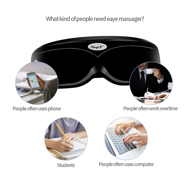 Wireless Electric Vibration Eye Massager Eye Care Device Wrinkle Fatigue Relief Magnetic Acupuncture Massage Eyewear Glasses P36