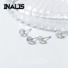 INALIS Cute New Arrival S925 Sterling Silver Ear Pins With Single Round Moonstone Stu Earrings Best Birthday Gift for Friend