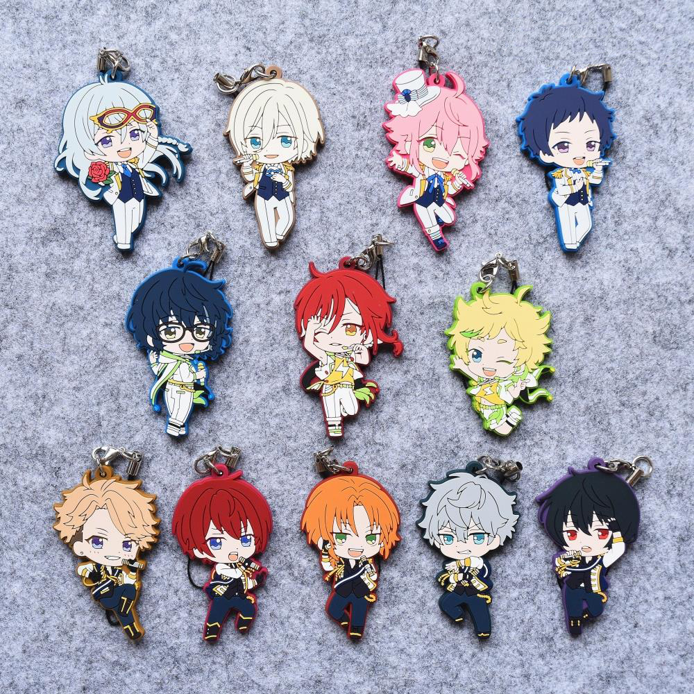 Ensemble Stars Anime Eichi Yuzuru Koga Adonis Leo Izumi Ritsu Tsukasa Nazuna Hajime 3rd Ver Rubber Keychain ensemble stars anime idol high school game team trickstar bean eye ver japanese rubber keychain