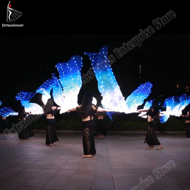 أدى مروحة من الحرير الحجاب رقص مروحة الحجاب الحرير مصباح ليد تظهر الأبيض الأزرق الملحقات دعامة بطن الرقص المرحلة الأداء