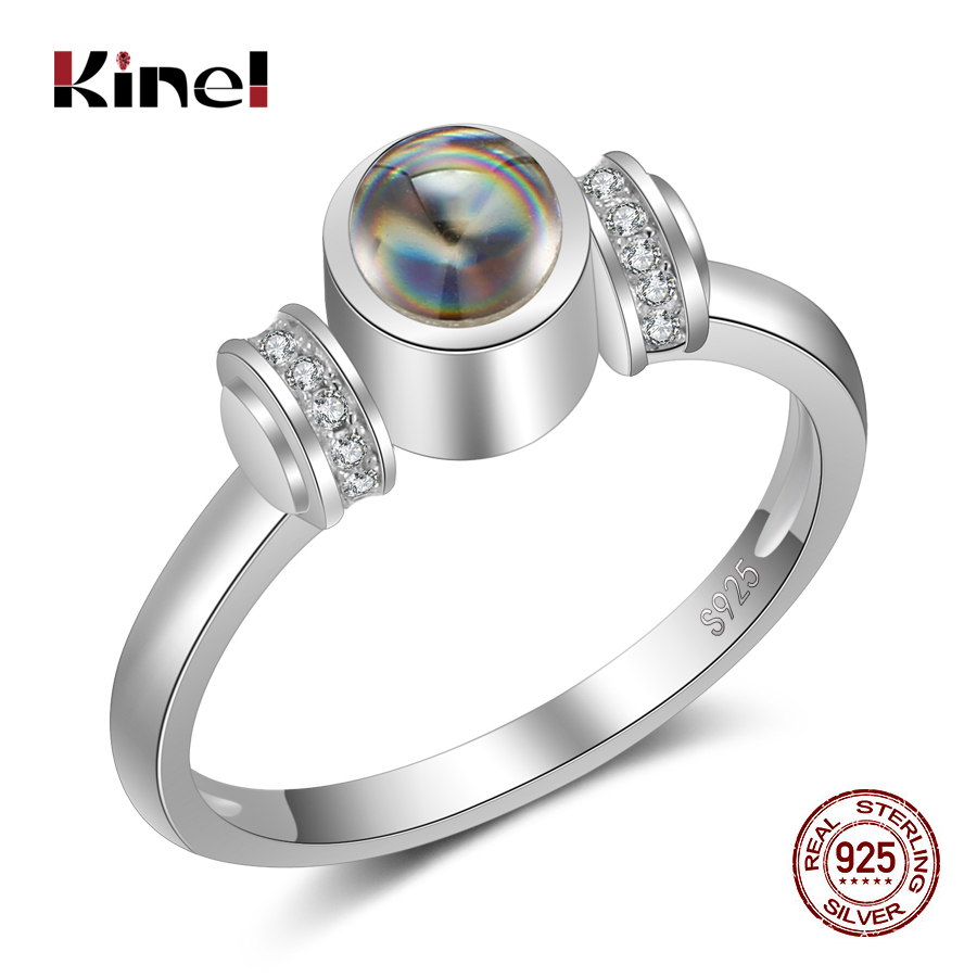 Kinel 925 Sterling Silver Ring For Women Stone Projection 100 Languages I Love You Fashion Engagement Wedding Ring Jewelry