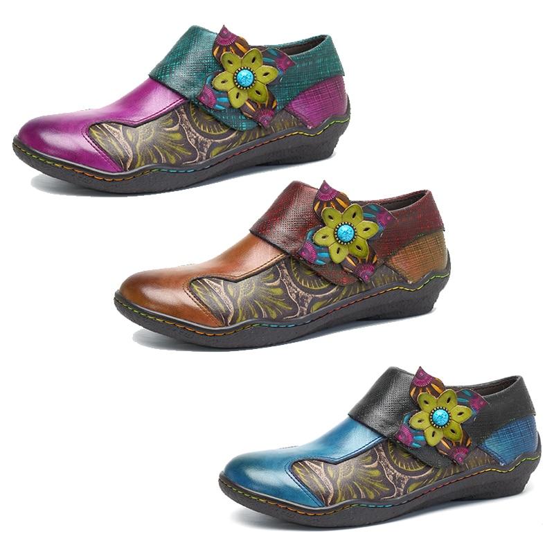 Socofy czeski płaskie buty kobiety lato w stylu Vintage drukowane płaskie buty ze skóry naturalnej zamek buty w stylu casual kobieta trampki wiosna jesień nowy w Damskie buty typu flats od Buty na  Grupa 2
