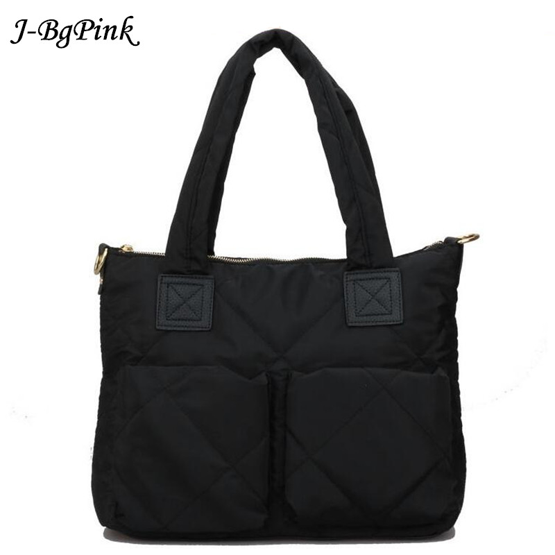 2018 Shoulder Bag Women Space Pad Cotton Feather Down Bag Bucket High quality Handbag shoulder padded jacket down laptop bags hot sale women fashion colorful light feather handbag high quality shoulder bag space down cotton padded tote bs162