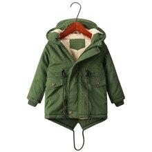 Aileekiss Winter Boys Army Green Jackets For Kids Children Outdoor Fleece Clothing Hooded Warm Outerwear Windbreaker Coats