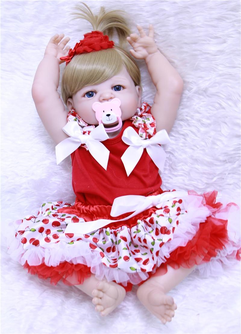 55cm Full Silicone Baby Doll 100% high quality bebe Reborn Babies Lifelike Girl Body toys For Kids Birthday Gift doll lol BJD doll