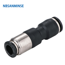 Free Shipping 10Pcs / Lot Pneumatic Fitting Union Straight Air Push In Self-Sealing Stop Valves High Quality Sanmin