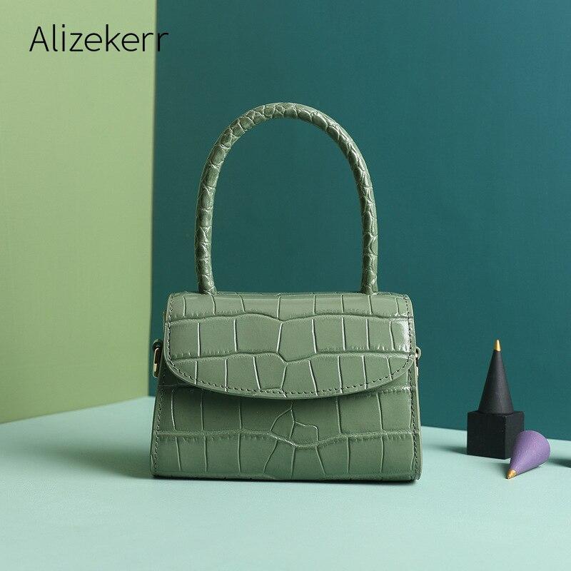 Mini sac à main en cuir véritable femmes 2019 concepteur de luxe mignon Crocodile modèle petit fourre-tout sac à bandoulière dames célèbre marque sac à main